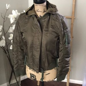 NWT DOMA army green aviator bomber jacket